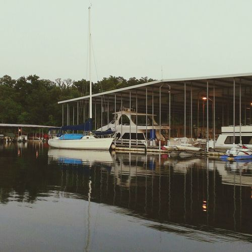 i liked the way the reflections looked of the boats on the water... Water Reflections Sailboats Summertime
