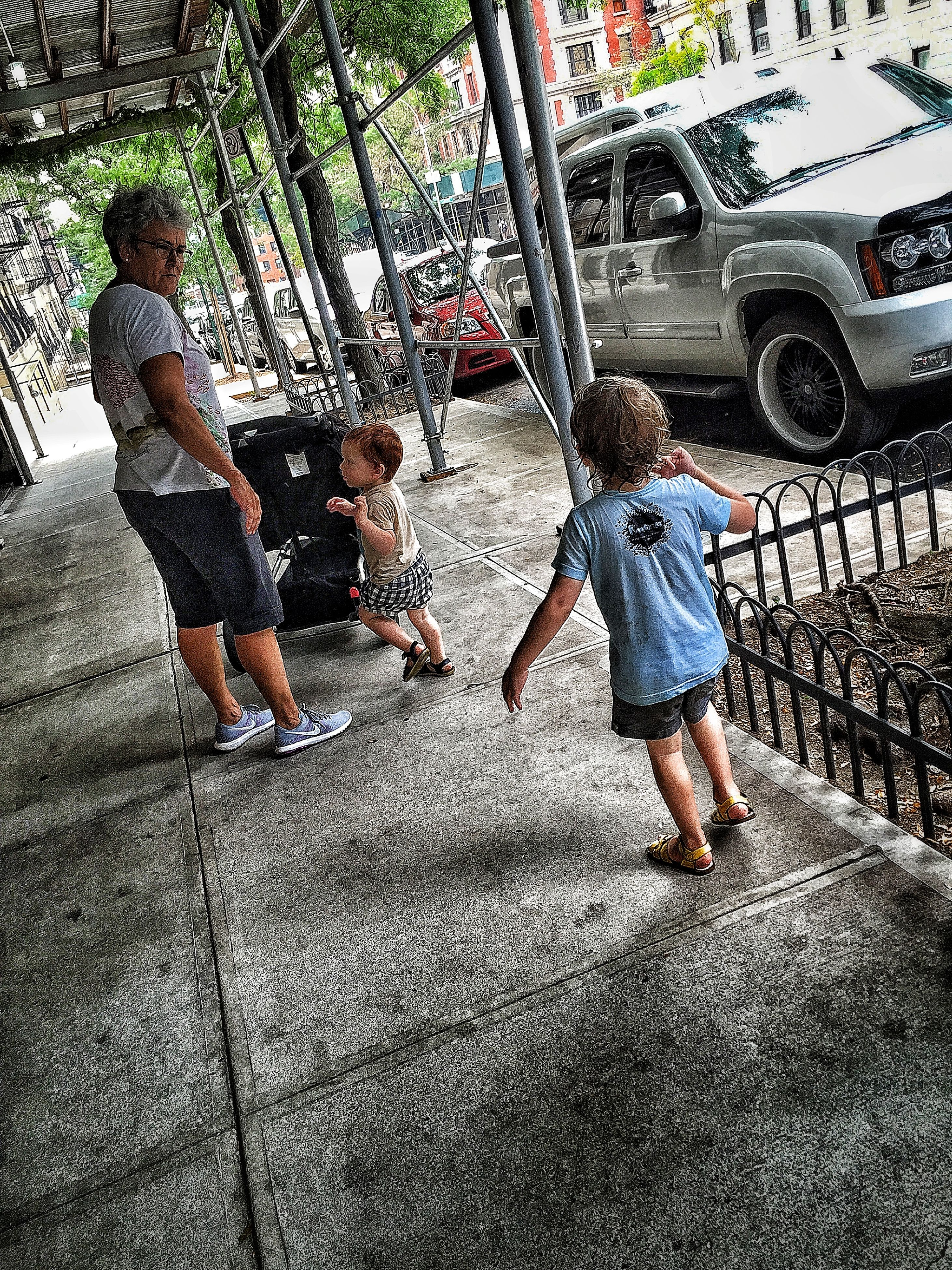 childhood, lifestyles, leisure activity, boys, high angle view, full length, casual clothing, elementary age, girls, street, playground, playing, innocence, standing, day, love, playful