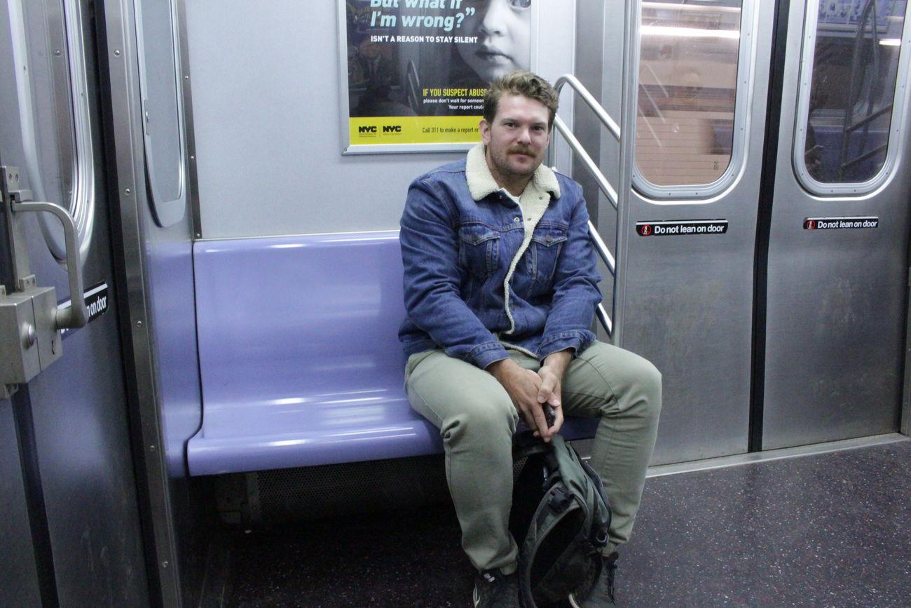 Commuter StreephographyNervous But Smiling One Man Only Passenger Portrait Public Transportation Sitting Smile :) Train Interior Vehicle Seat