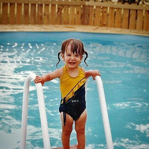 That's Me Vintage Photo Kid Enjoying The Sun Swimming Pool Swiming