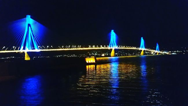 Bridge - Man Made Structure Connection Architecture Illuminated Water Transportation Night Famous Place Cable-stayed Bridge