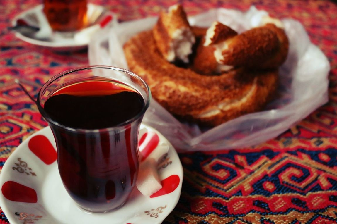 Time for some tea... Breakfast Close-up Composition Drink Food Food And Drink Freshness Indoors  Istanbul Istanbuldayasam Like Refreshment Simit Simit&Çay Still Life Table Turkey Turkish Food Turkish Tea Turkish Teacup Turkish Tradition Yum çay