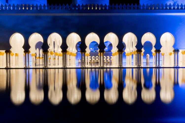 Abu Dhabi Architecture Reflection The Graphic City UAE Blue Close-up Column Day In A Row Indoors  Large Group Of Objects Mosque No People Sheik Zayed Mosque Water