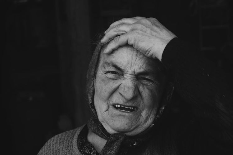 Senior Adult Human Face One Person Headshot Portrait Black Background Pain People Looking Women Vilige Gremmos Old Woman Old Second Acts