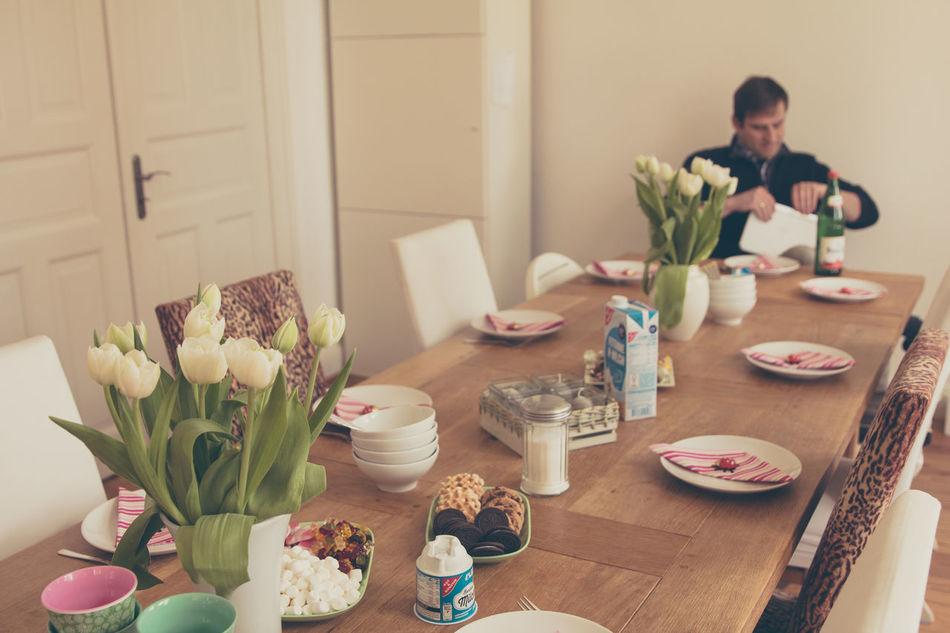 Beautiful stock photos of ostern, flower, breakfast, table, indoors