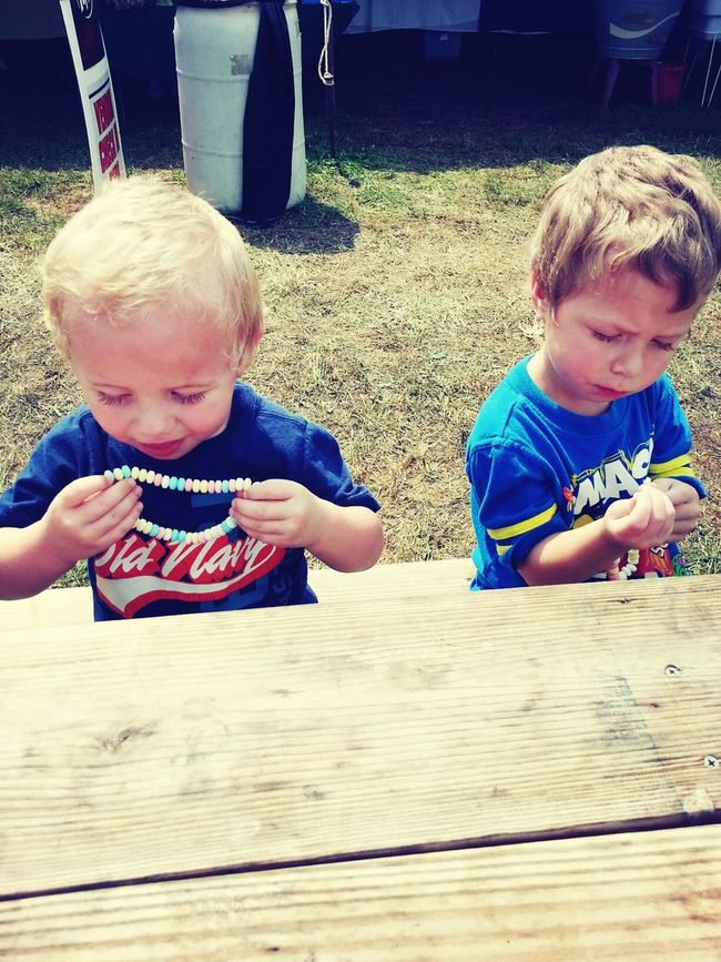 Candy Necklaces! Whitetail DeerFestival MyBABiES Enjoying Life ... until they drove me crazy with throwing fits ;) haha thankfully that did not last long.