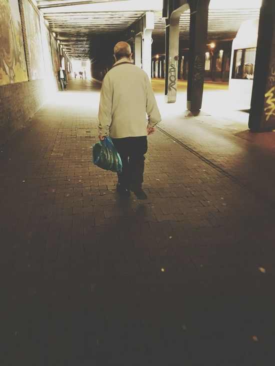 Portrait From Behind Portrait Of A Man  Tunnel Tunnel Series Walking Alone... City Life City View  Street Life My City Sunny Day People Of EyeEm People Photography Old Man Streetphoto GalaxyS7Edge Walking Tunnel View Summertime City Street Walking Away