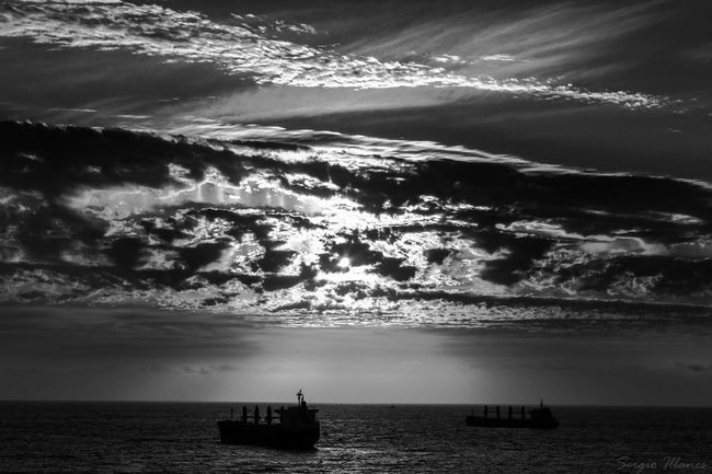 Waves Chile Antofagasta Sunset Blackandwhite Clouds And Sky