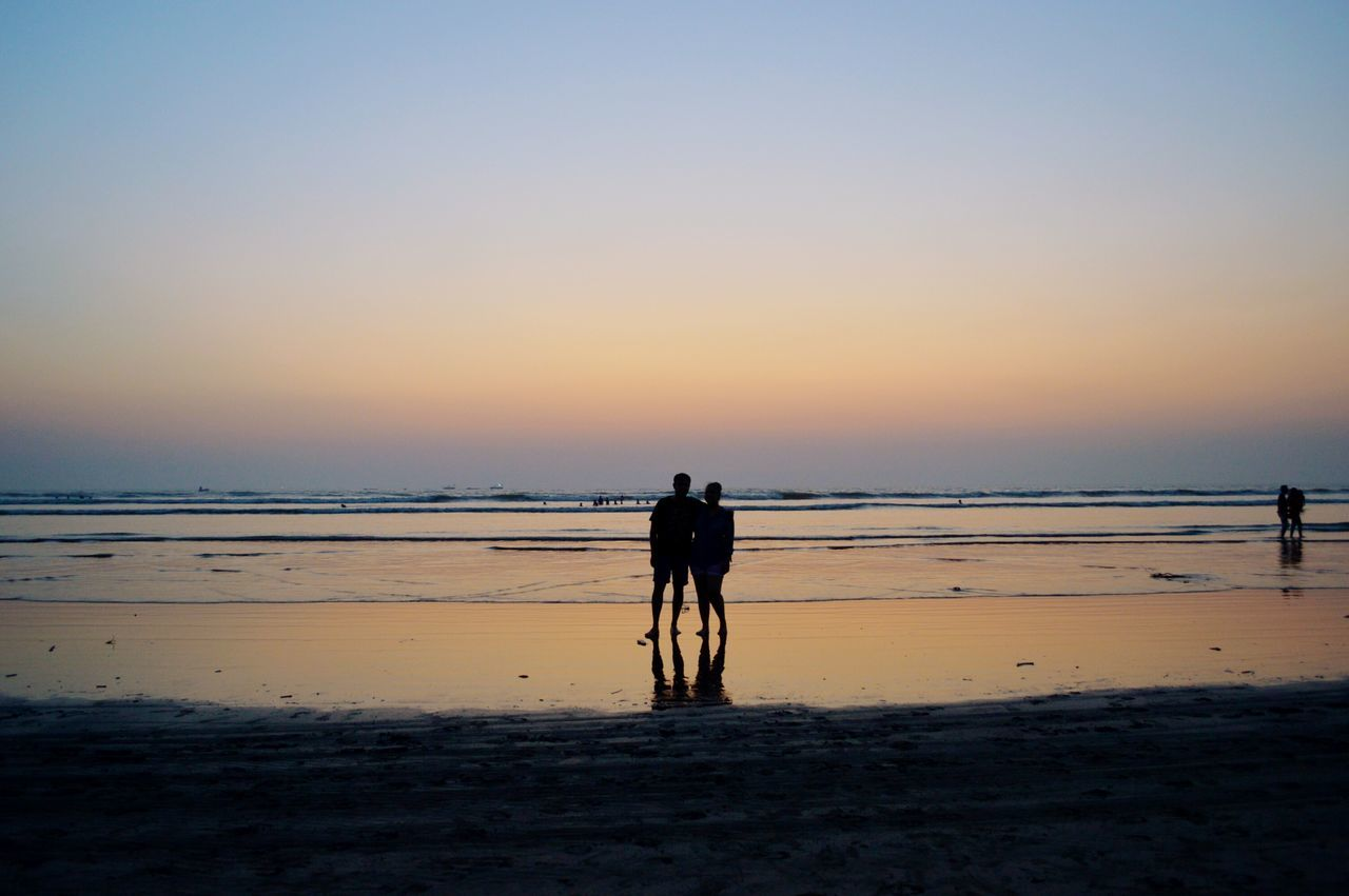 Oct 16 Sea Beach Water Sunset Nature Sand Tranquility Horizon Over Water Beauty In Nature Tranquil Scene Silhouette Scenics Sky Outdoors People India Nikon D3200 Nikonphotography Travel Alibaug Traveling Couple Love Relationship Wanderlust