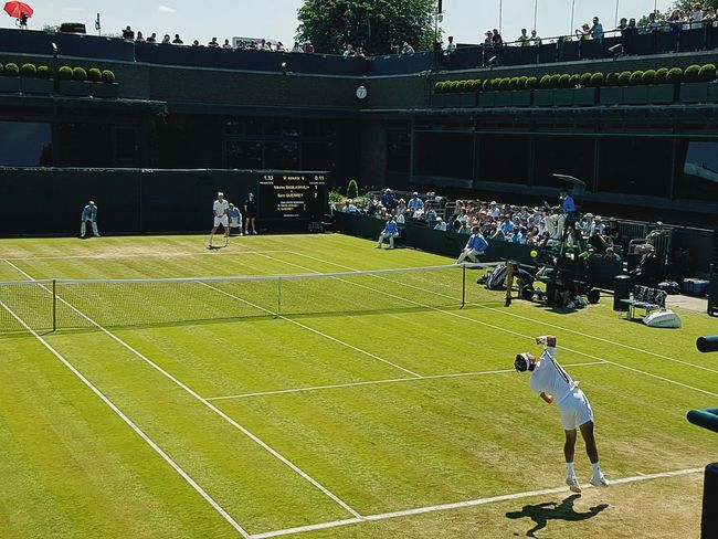 Sport Real People Men Outdoors Grass Tennis Wimbeldon The Championship Serving Ball Toss Mens Singles tennis ball Playing Tennis Club Sunny Days Tenniscourt Tennis Game People