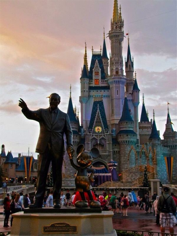 Disney Walt And Mickey Sky My Castle  Disney Castle Sunset Statue Architecture Large Group Of People Travel Destinations Outdoors