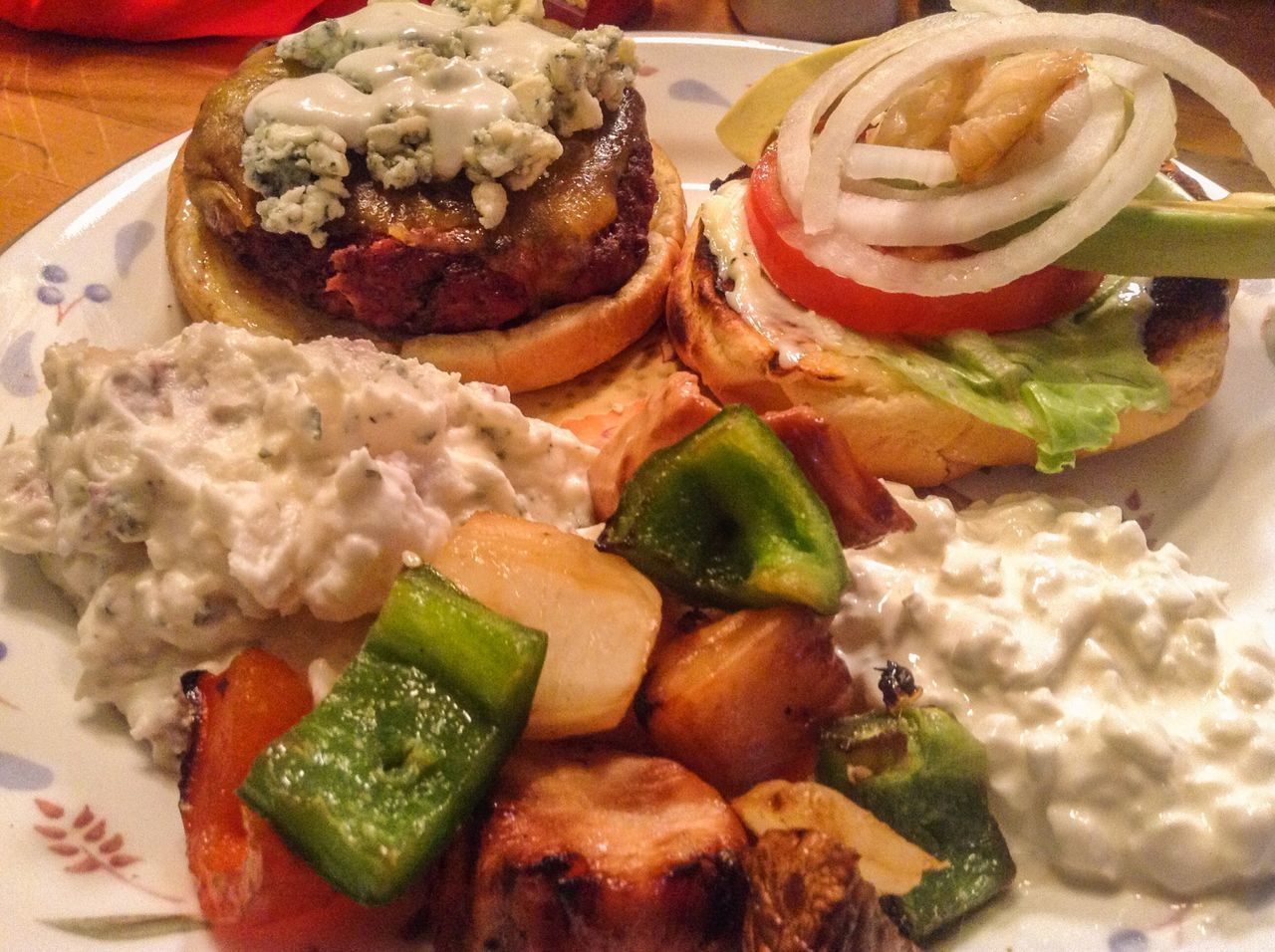 Danish Bleu Cheese Avocado Burger, Red Potato Salad, Teriyaki Chicken Kabobs and cottage cheese BBQ Food Food Porn Food Photography