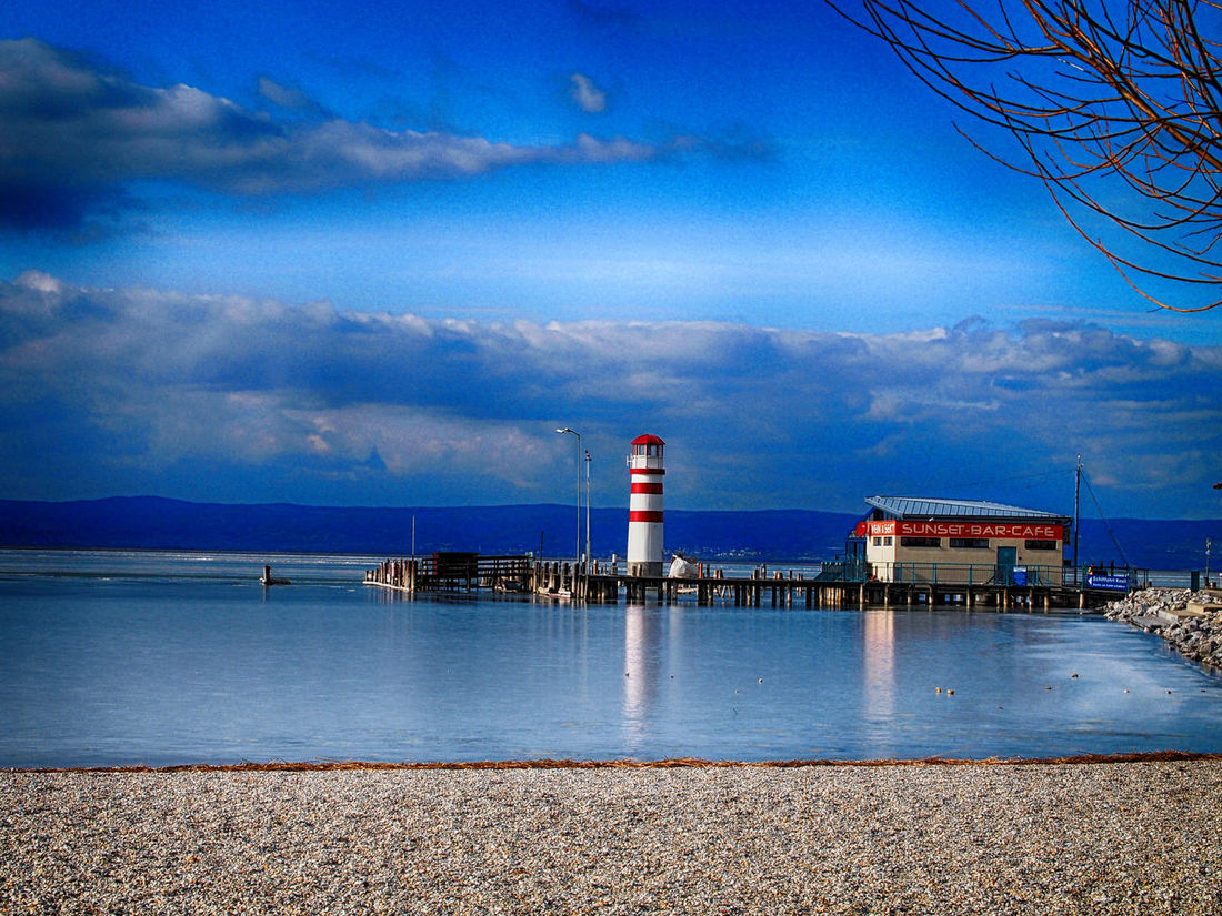 Built Structure Cold Horizon Over Water Icedwater Lake Lake Fertő Lakeshore Lighthouse Neusiedlersee Outdoors Podersdorf Podersdorfamsee Shore Water
