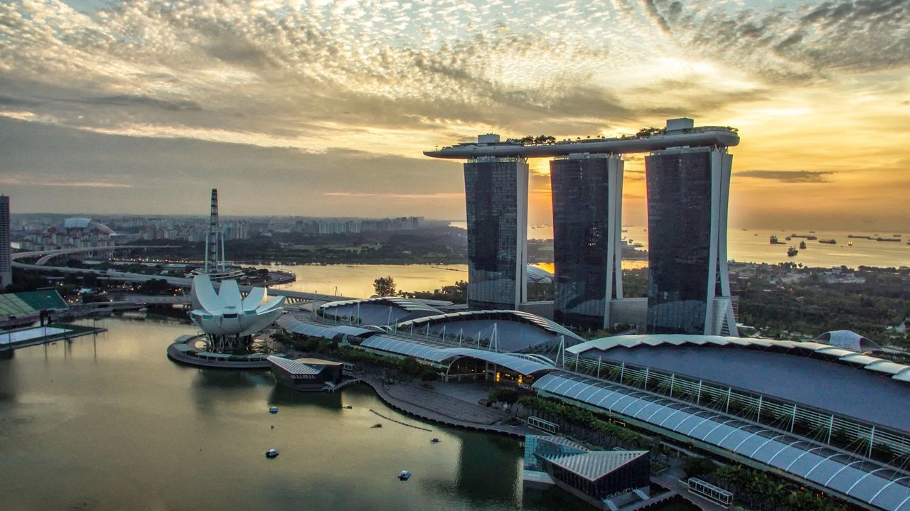 Sunrise of gold Architecture Building Exterior Built Structure City Sky High Angle View Cityscape No People Travel Destinations Cloud - Sky Outdoors Water Sunset Urban Skyline Nature Bridge - Man Made Structure Skyscraper Day Hotel Singapore Singapore City Sunrise