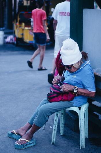 Sitting Outdoors Street Photography ASIA Street Quiapo Manila, Philippines