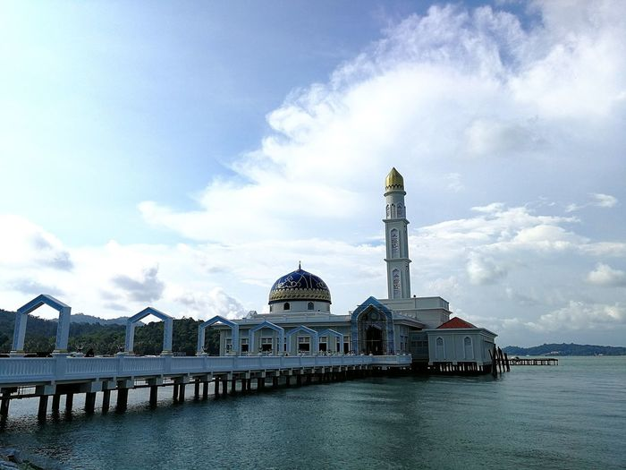 Architecture Cloud - Sky Sky Dome Built Structure Building Exterior Travel Destinations Water Outdoors Day City Blue Pangkor Island Mosque Floating Mosque Masjid Masjid Seribu Selawat