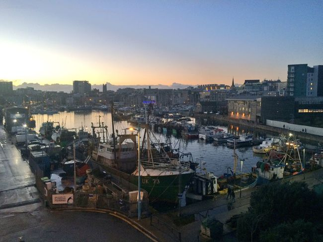 Sutton Harbour Plymouth Barbican at dusk looking calm and serene after storms