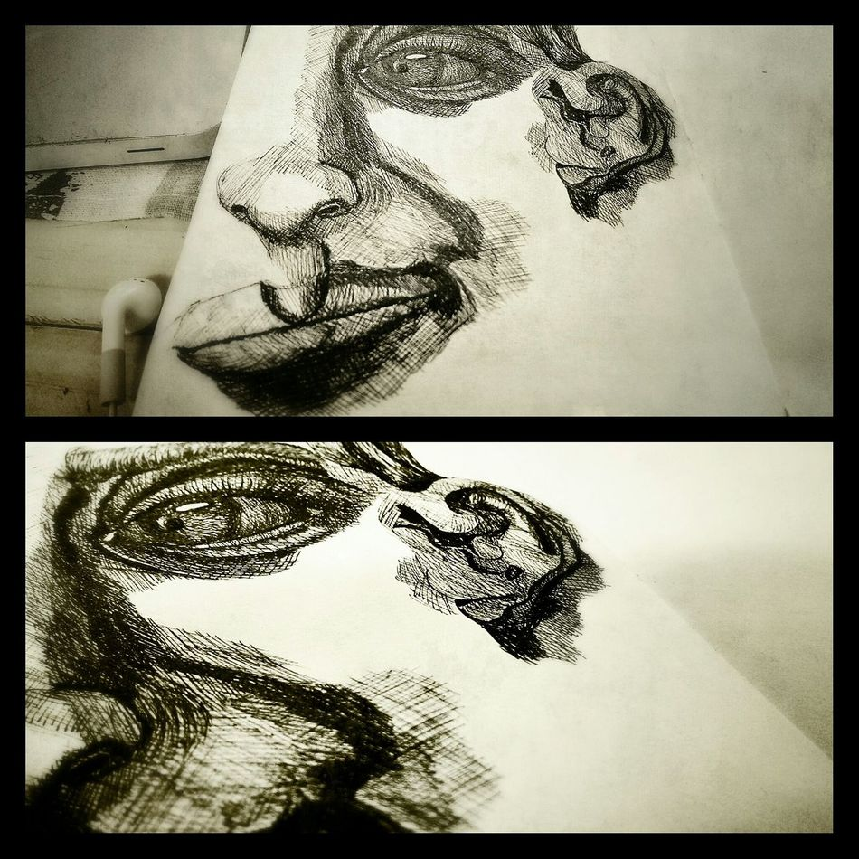 Everyday drawing - attempting to draw head, ewwwwwwwww difficult Sketch Black And White Portrait Hand Drawing The Tree Academy