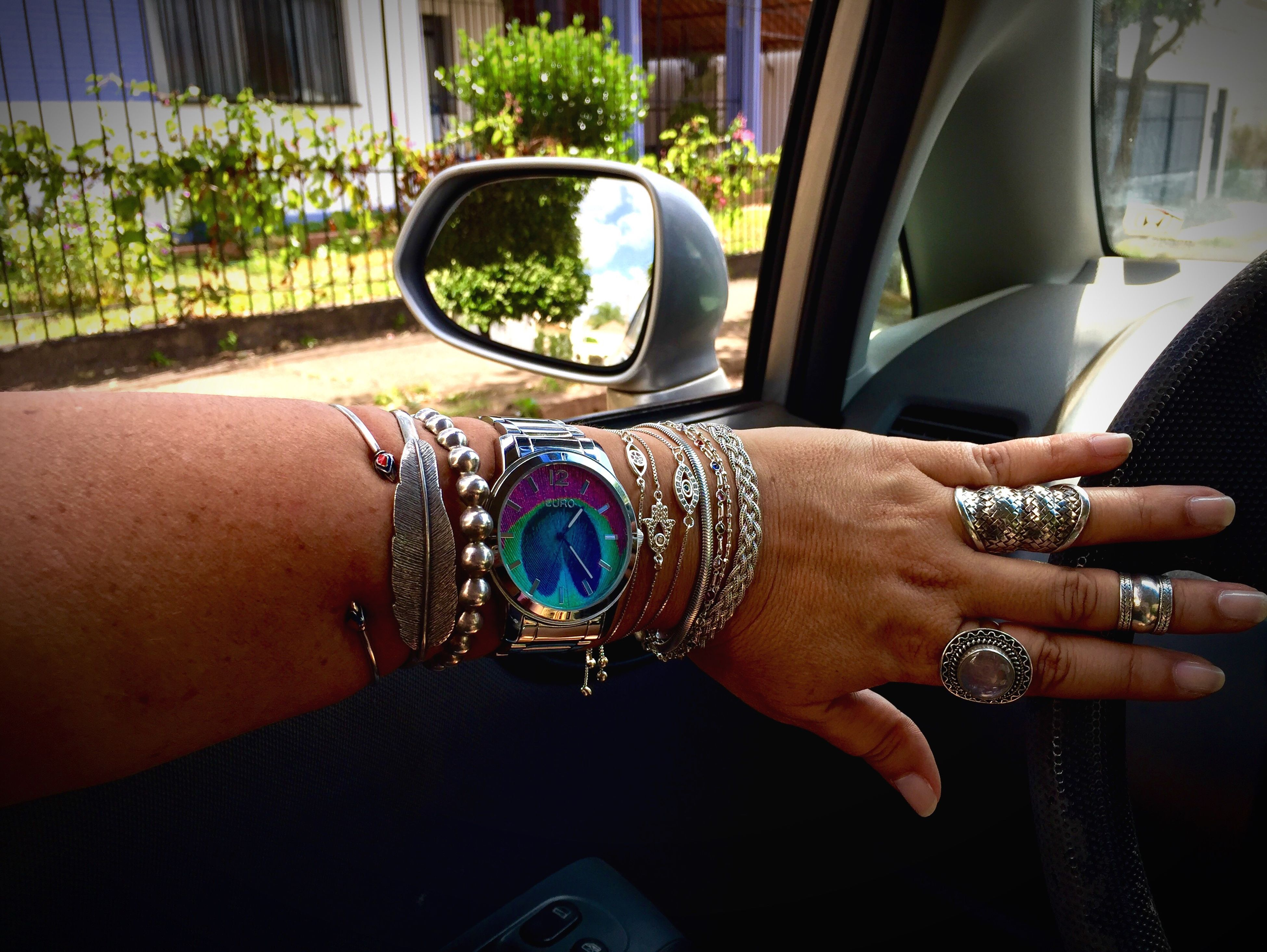 If do I love silver?...🤔😍yes, i love it so much! Human Hand Human Body Part Car Wristwatch One Person Transportation Real People Mode Of Transport Land Vehicle Bracelet Close-up Day Outdoors Adult People Gipsy Style