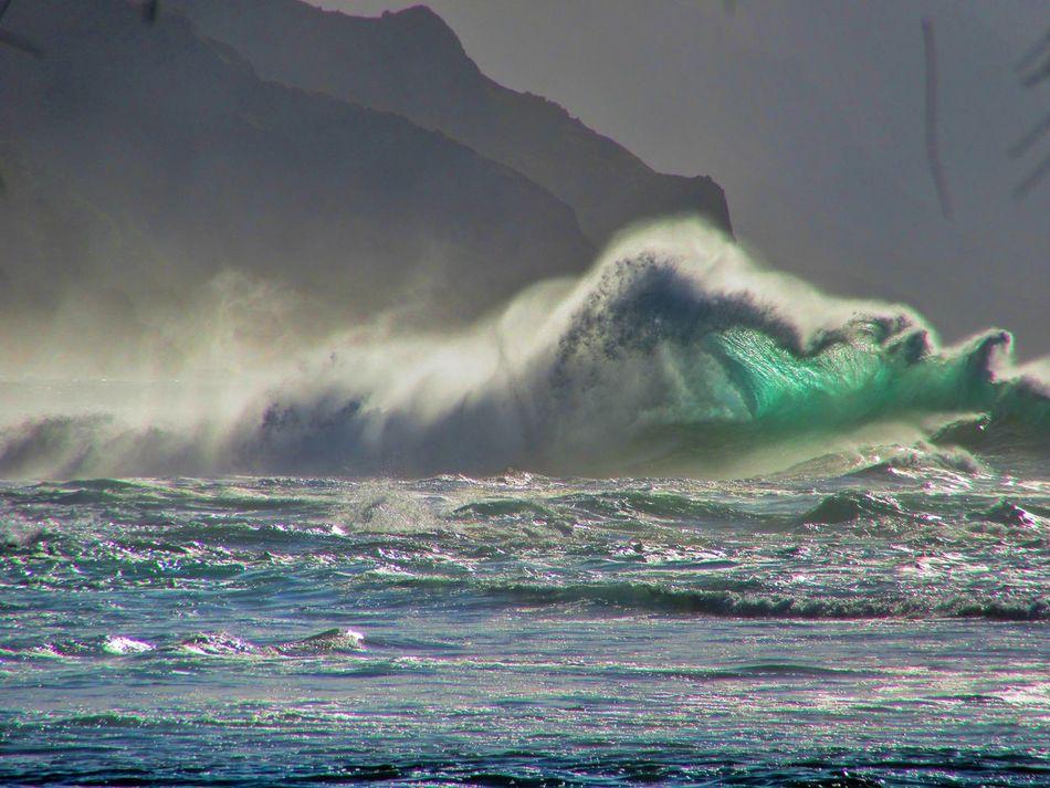 Beauty Cliffs Day Kauai Kauai♡ Ke'e Beach Mountains Nature No People Ocean Outdoors Sky Water Waves Waves And Rocks Waves, Ocean, Nature