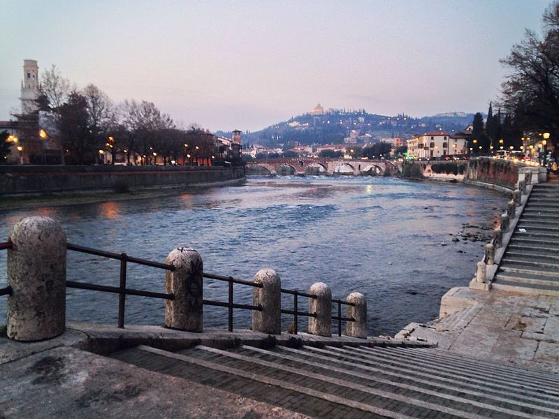 Verona Verona Italy Landscape River Adige Adige River Veneto Italy Railing Water Architecture Building Exterior City Built Structure Clear Sky Outdoors Pier Travel Destinations No People Tree Sky Nature Day Water