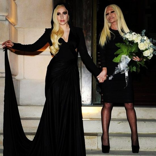 Mothermonster @ Paris Fashion Week Haute Couture Sping/Summer 2k14 with DONATELLA Versace. That Bad-ass Black Hooded Gown >.< littlemonster black LADYGAGA teen teenager trends famous followteam follow4follow followback like4like liketeam tfl