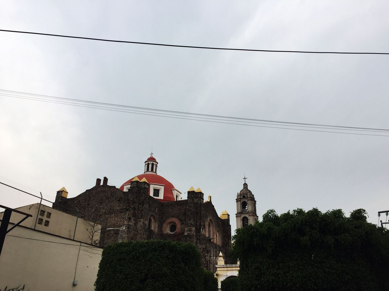 Architecture Built Structure Building Exterior Low Angle View Religion Place Of Worship Sky Spirituality Cable Day Cloud - Sky Outdoors No People Tree Nature Bell Tower Catedral Historical Building City Street Texcoco De Mora