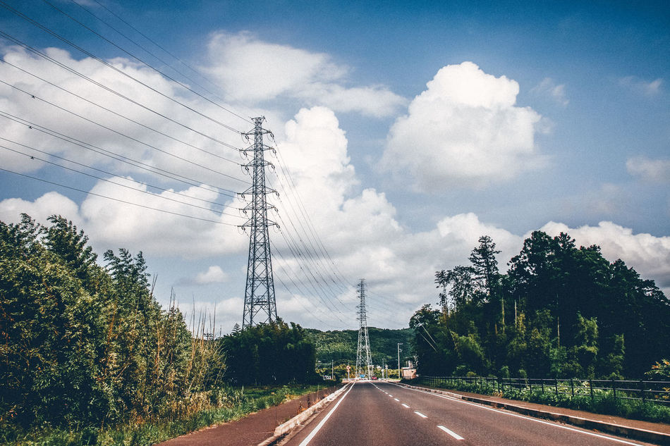 Cable Cloud - Sky Connection Countryside Day Drive By Shooting Electricity  Electricity Pylon Fresh On Eyeem  Japan Nature No People Outdoors Power Line  Power Supply Road Sky Starting A Trip Technology Telephone Line The Way Forward Transportation Travel Travel Destinations Tree