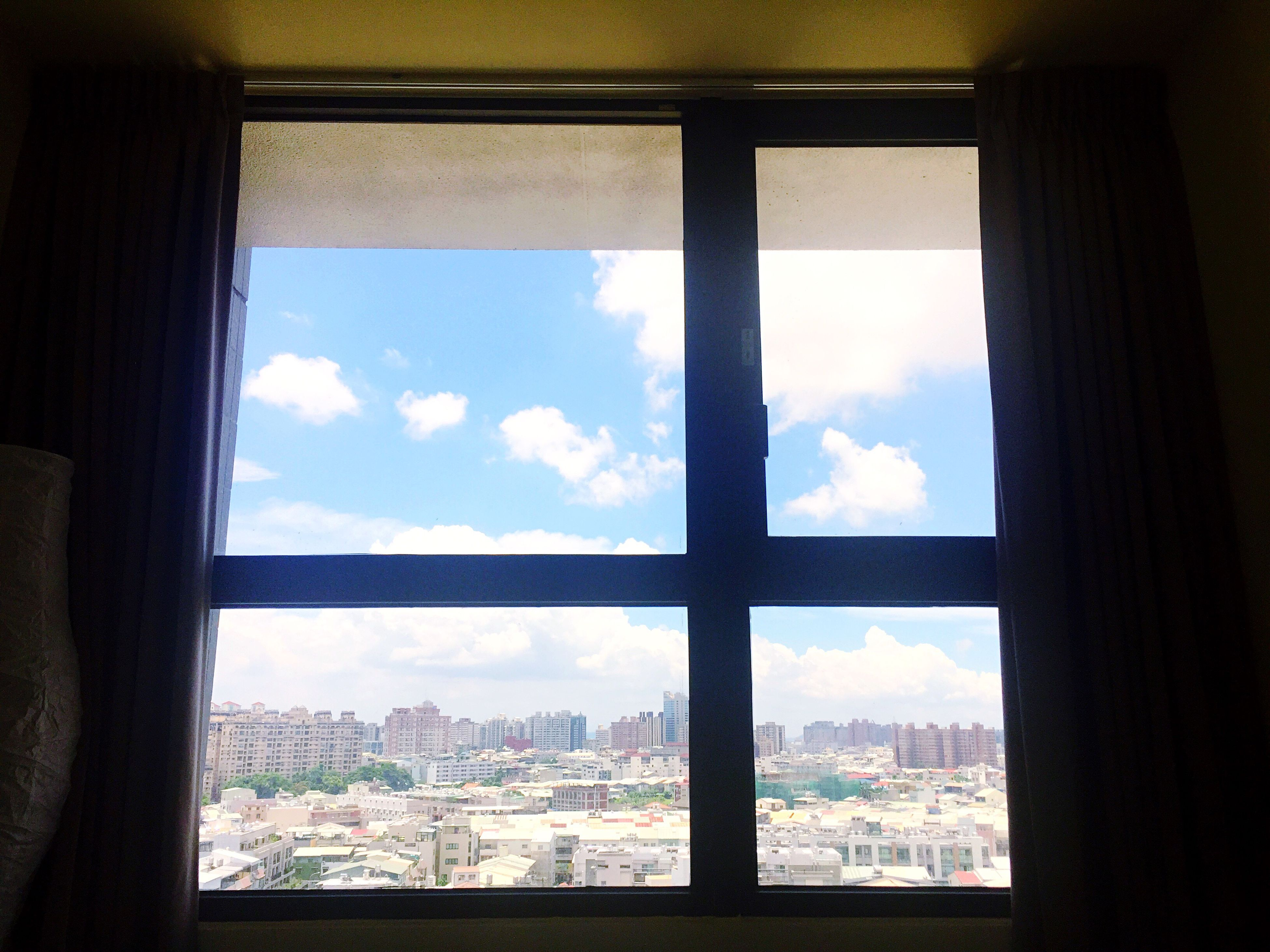 window, indoors, day, sky, architecture, looking through window, cloud - sky, built structure, no people, nature, cityscape