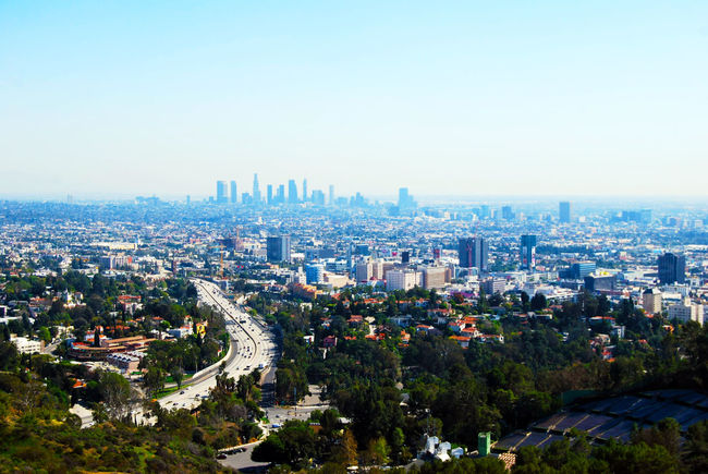 Aerial View Blue Sky City Cityscape Clear Sky DTLA Freeway Hollywood Hollywood Bowl Interstate Los Angeles, California Mulholland Drive Outdoors Scenics Trees