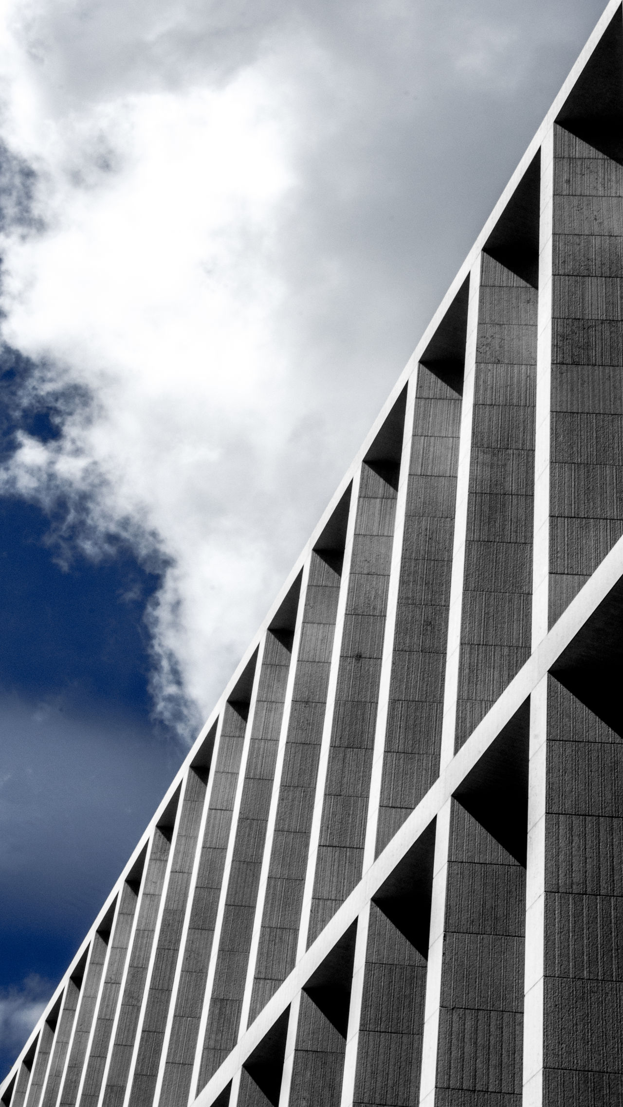 Vertical 004 Architectural Detail Architecture Architecture_collection Architecturelovers Building Exterior Built Structure City Cloud - Sky Day Diagonal Low Angle View Modern No People Outdoors Sky Urban Geometry Art Is Everywhere The Architect - 2017 EyeEm Awards Premium Collection