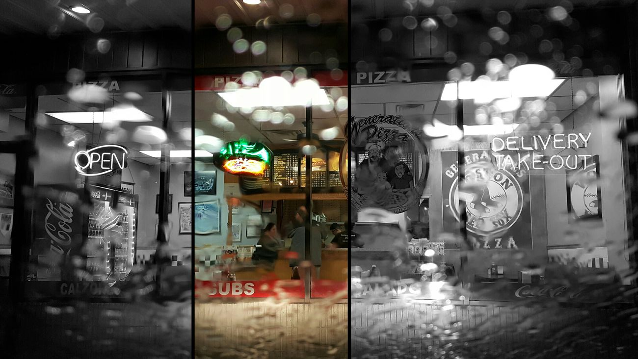 I'll take a slice. Close-up Exterior Pizza Shop Text Water Droplets Rainy Day Photography Illuminated Neon Signs EyeEm Best Shots