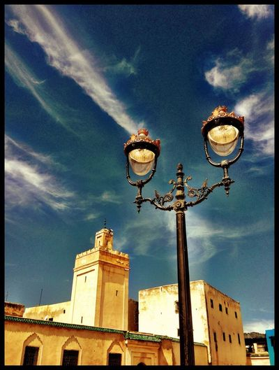 Lamppost Clouds And Sky Tower Skyporn Fes Morocco Streetphotography