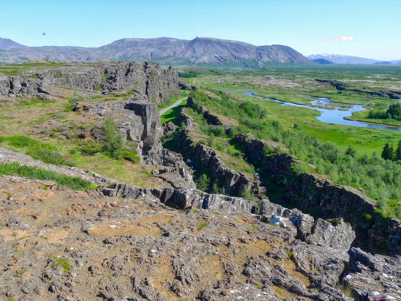 Here you can see the movement of the Eurasian and North-American plate boundaries that run through Iceland. Beauty In Nature Day Grass Green Color Iceland Landscape Mountain Nature No People Outdoors Scenics Sky Thingvellir Thingvellir National Park Tranquil Scene Tranquility Water þingvellir