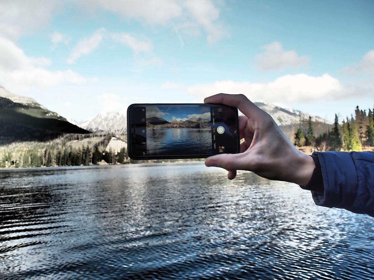 Day Human Hand IPhone Lake Nature Outdoors Smart Phone Strbske Pleso Travel Destinations Water