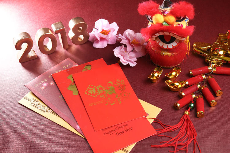 Chinese new year decorations for year 2018 2018 Angpao Greeting Lion New Year Red Angpow Chinese New Year Culture Decorations Envelope Festival Festive Packet Wish
