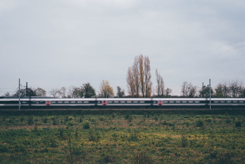 Tree Day Outdoors No People Sky Nature Grass Travelling Rail Railing Rail Transportation Railway Travel Traveling Speed Transport Mode Of Transport Train - Vehicle Beauty In Nature Train Wagon