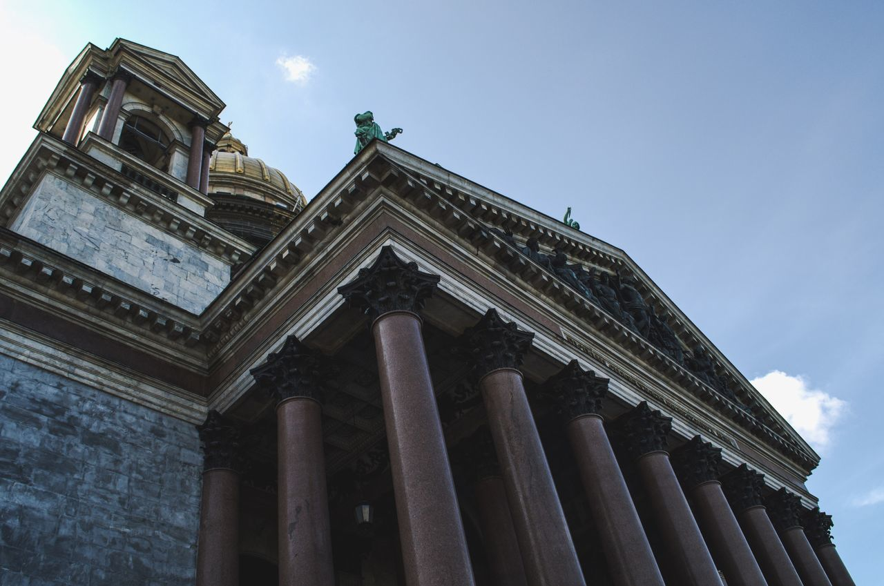 City Sky Architectural Column Day Architecture Low Angle View Building Exterior St Petersburg Russia Isaac's Cathedral Isaakievskiy Sobor