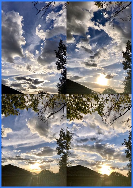 Beautiful sunset tonight from home ☀️🍃💛🍃🌞 Sunsettonight BeautifulSunset Nature Dramaticskies Interestingclouds Home SunsetCollage☀️ ☀️🍃☀️