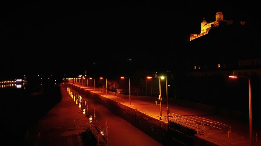 Night No People Road Outdoors Water City River Würzburg Main Bridge Germany Festung