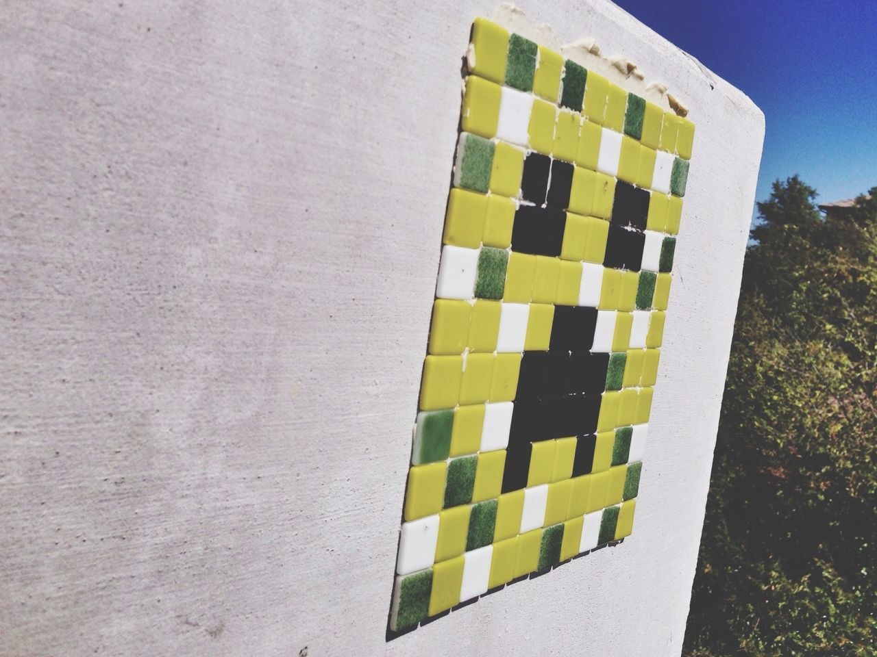 More Space Invader - Streetart copycat work. Minecraft Creepers Fort Worth Texas