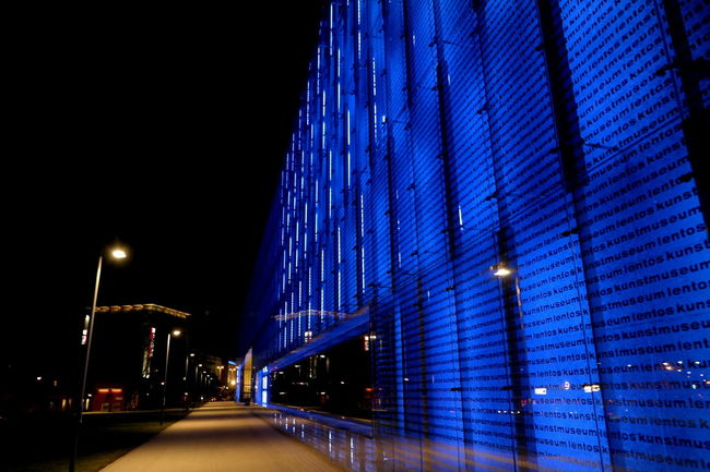 Architecture Austria Blue Building Exterior Built Structure City From My Point Of View Glass - Material Lentos Linz Low Angle View Modern Modern Architecture Museum Neon Lights Night Lights Nightphotography Window