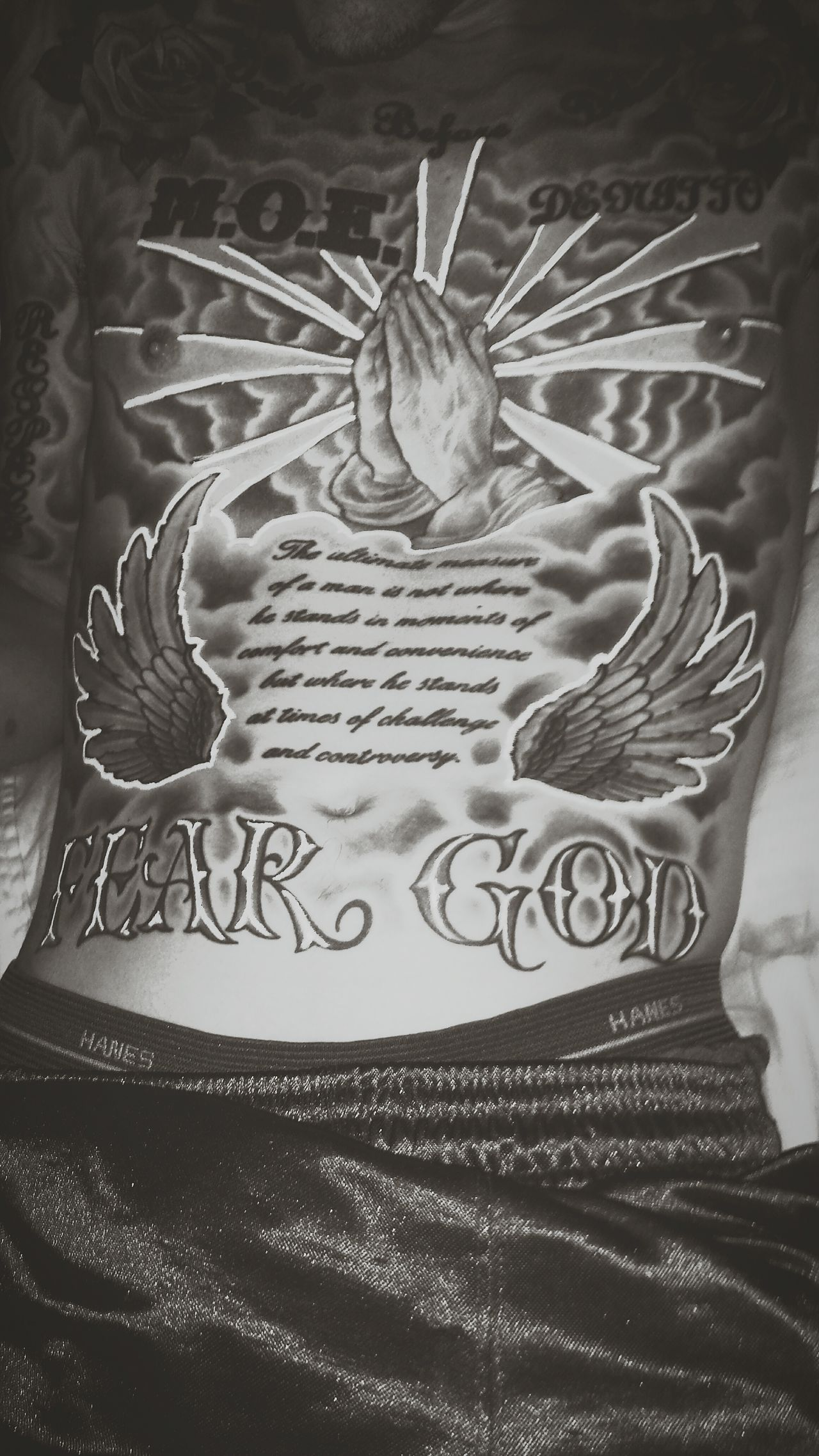 Tattooedmen Tatted Blackandwhitephotography Modernartwork Inked Up Inkaddict Beauty Redefined Permanently Embedded  Religion And Beliefs Angelwings  God Blessed  Heavenly Sky Prayinghands FaithInGod Inspirational Spiritual Journey Quotesaboutlife