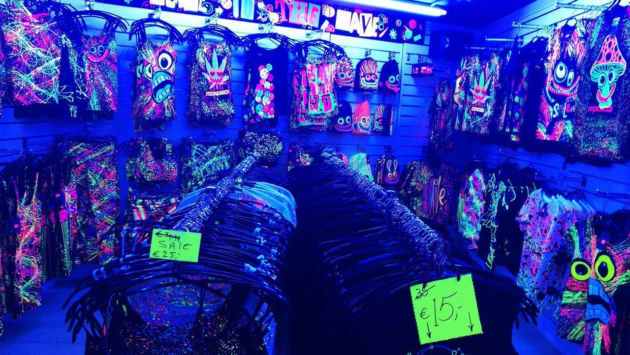 No Filter Amsterdam Glowinthedark Blacklight Glow In The Dark Store Clothing Store Clothing Multi Colored Colours No People Blue Day Indoors  Colorful Yellow Red Trippy Weed Mushrooms Mariuana Drugs