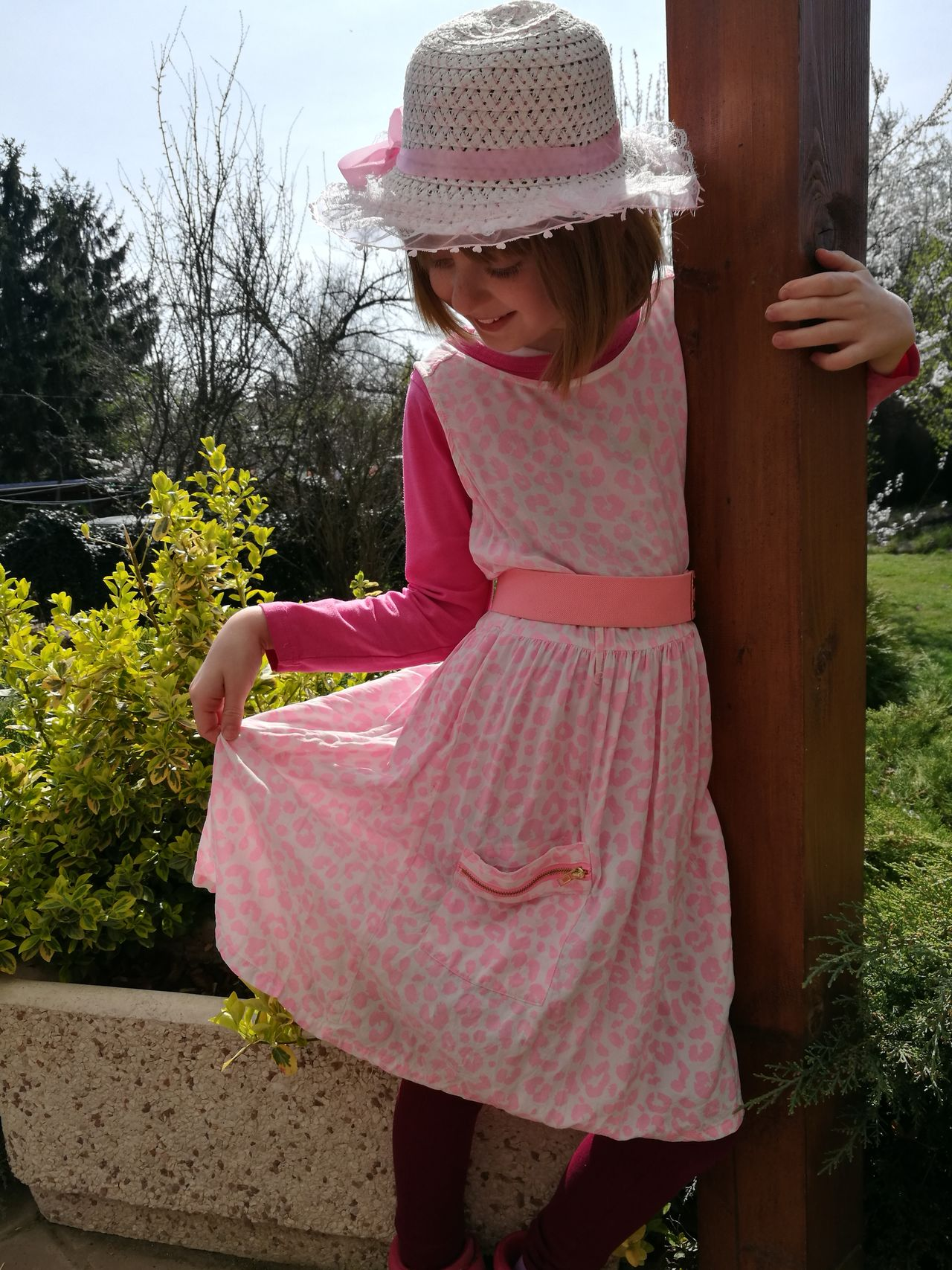 Pink Color One Girl Only Child One Person People Looking Down Outdoors Day Spring Hello Spring Daughter Uniqueness Unique Beauty In The Garden Natural Pink Dress Pink Dress❤ Pink Hat Hat Madame Smile Millennial Pink EyeEmNewHere