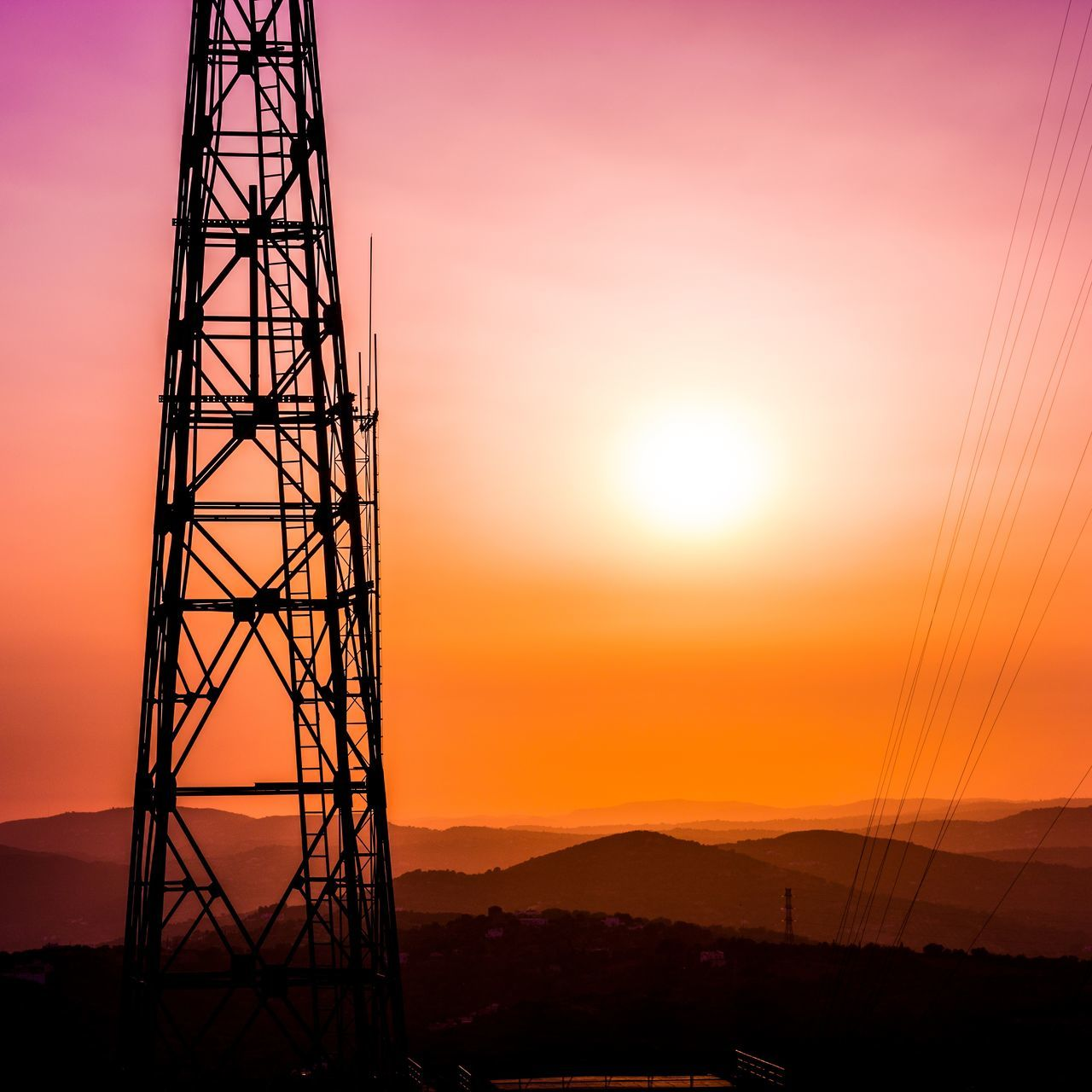 🌇 Sunset Silhouette Electricity  Outdoors Tower Technology Evening Sun Sky Purple Sunsets Sun