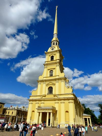 Petropavlovskayafortress Cathedral Imperial Tomb Sky And Clouds Blue Sky Gold Yellow Magic Place ☀️ Sankt-Petersburg