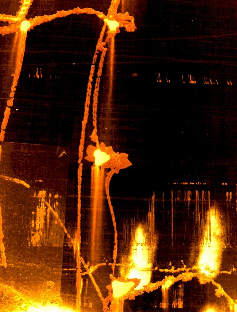 reflection, burning, flame, heat - temperature, night, outdoors, illuminated, no people, yellow, water, nature