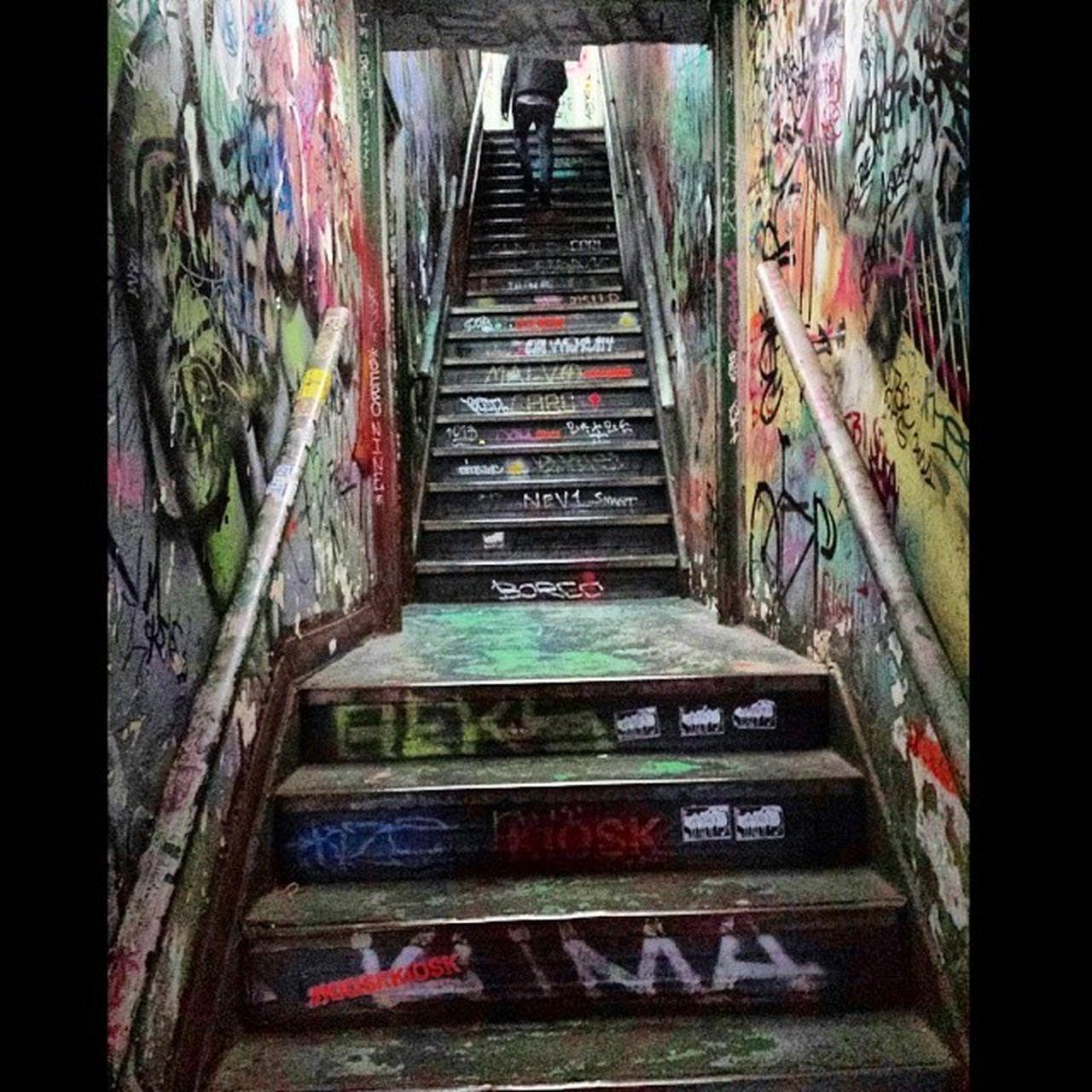 Stairway at 95 Spring Street . Photo by EpoK 95SpringStreet Manhattan NYC Taggin Graffiti Art stairwaytoheaven graffitibombing