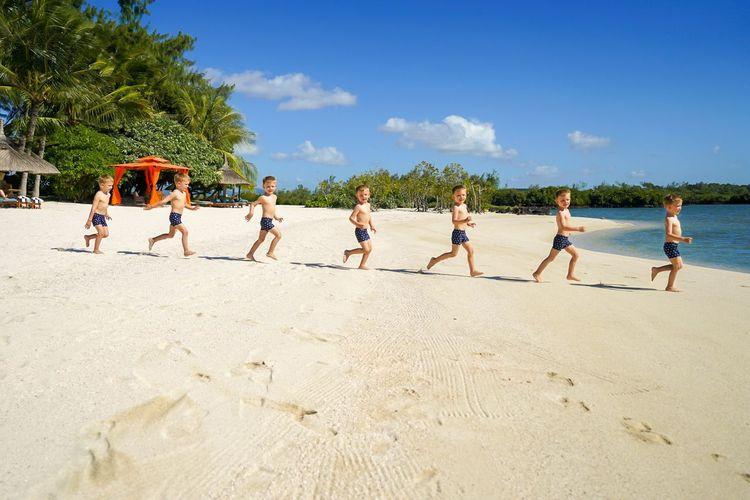 Beach Sand Sky Vacations Boys Child Fun Multiple Exposures